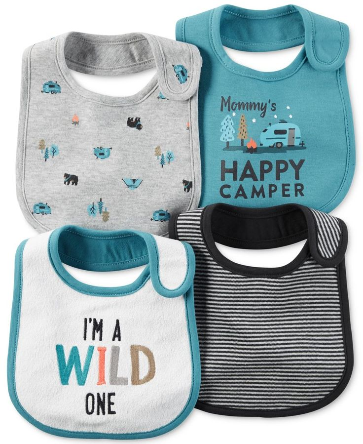 He'll be a cute little camper in the fun graphic and printed bibs in this four-pack from Carter's. | Front bib front panel: cotton/polyester; other bibs and front bib back panel: cotton | Machine wash