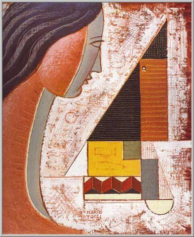 Mario Tozzi 1971: Profilo e Geometrici. Olio su Tela cm.55x46 - Collezione Privata Verona - Archivio n.589 - Catalogo generale Dipinti n.71/94.