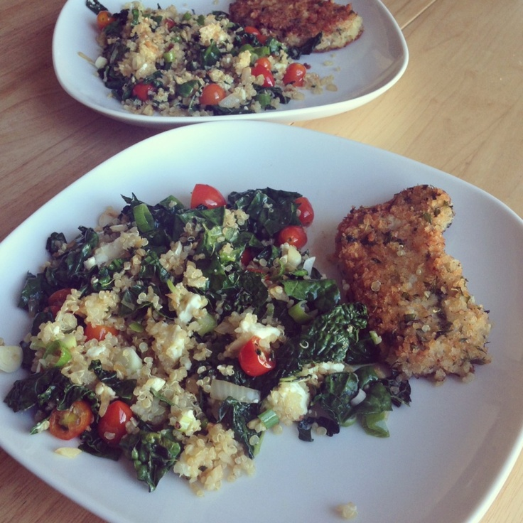 Panko-Thyme-Breaded Pork Chops with Quinoa, Kale, Green Onions and ...