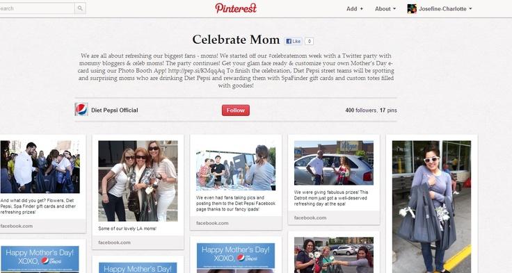 """Pepsi is zeer aanwezig op Pinterest. Ze posten heel veel foto's, maar ook fans mogen zelf foto's posten. Pepsi wil eigenlijk een soort van """"community"""" creëren en dat vind ik leuk gedaan en het is ook geslaagd. Een leuk voorbeeld is de actie rond moederdag (http://pinterest.com/DietPepsiPins/celebrate-mom/) . Pepsi wilde moeders eens in de bloemetjes zetten en organiseerde daarom Celebratemom week door middel van een twitter party met mama's die bloggen."""
