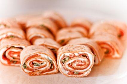 Mozzarella and salmon wrap