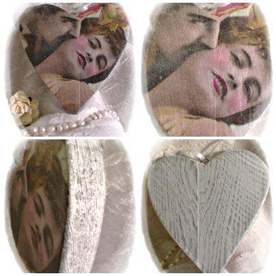 Szerelmespár. Vintage dekoráció koptatott kivitelben, 2 cm-es fenyőből. 12 x 11 cm 2,300 Ft