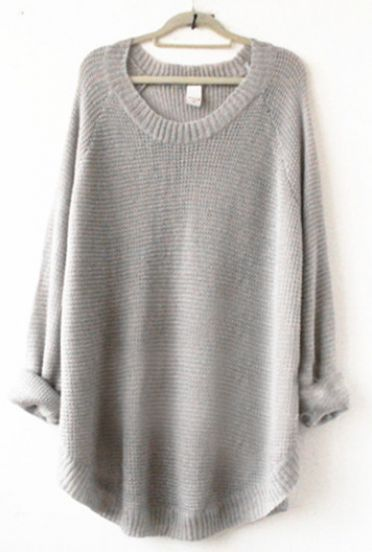 grey long loose sweater