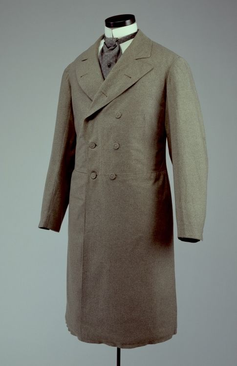 1880-90.The Frock coat, considered appropriate anywhere before six in the evening gradually became formal daytime attire by the 1880s  The grey frock coat would have been considered correct dress for a promenade in the park. Black or navy was deemed appropriate for more formal activities.