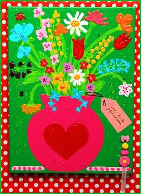 Mooie beschilderde bloemen op canvas doek van Sil