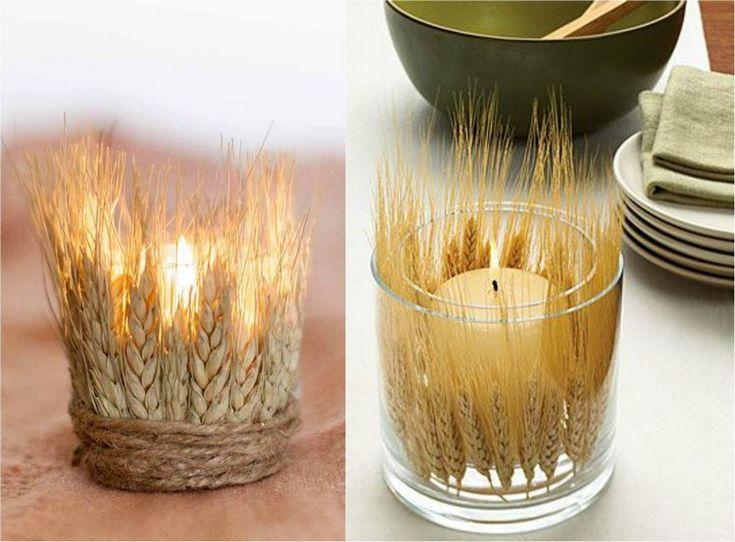 Teelichthalter aus glas mit weizenhalmen dekorieren for Deko aus glas