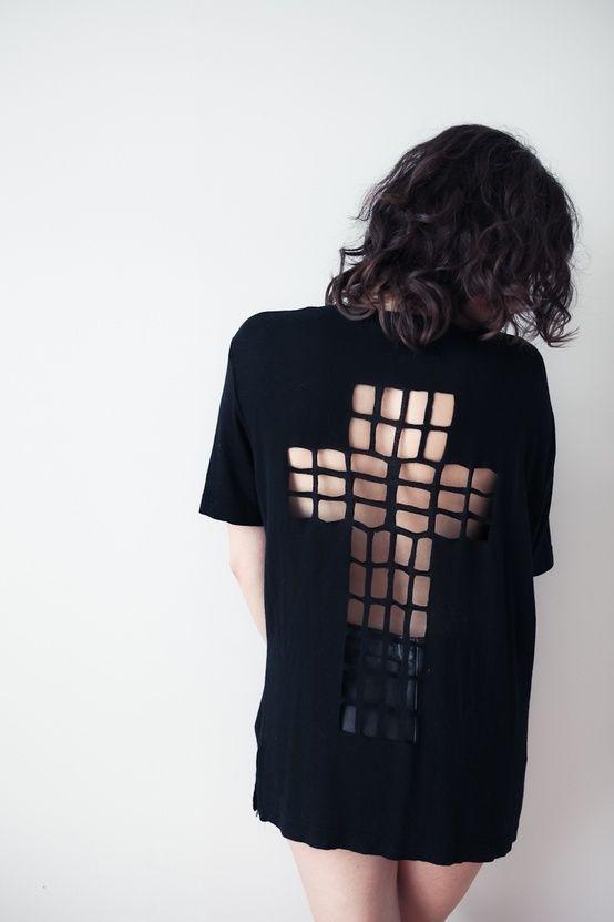 Cool DIY T shirt Redesign Ideas ~ #tshirt #cross #backless ~