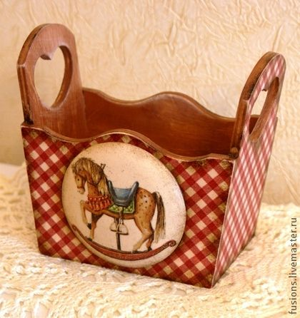 Короб `Лошадка`. Мини-короб под старину из влагостойкой фанеры с объемными элементами.