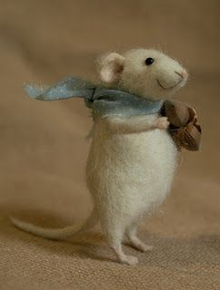 Cute White Mouse - Felted