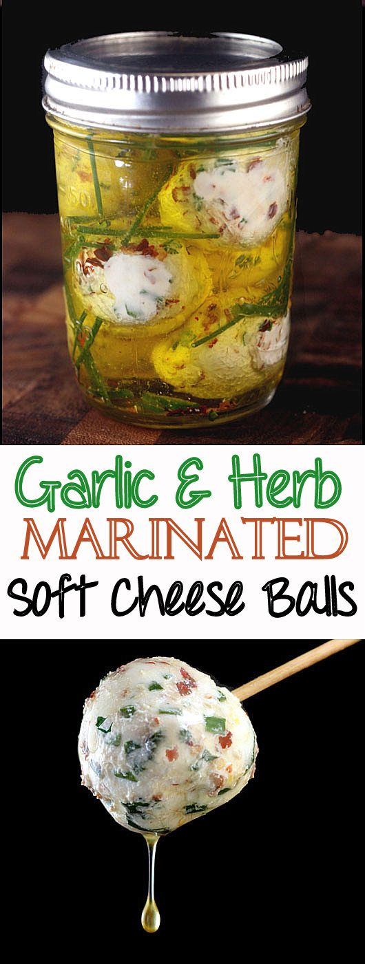 Recipe for creamy balls of soft cheese, like chevre or cream cheese, loaded with garlic, herbs and a little chili flake, then marinated in olive oil with even more herbs!  Eat as is or spread on crackers or warm bread like a baguette,  The bread soaks up all of that amazing garlicky herb oil goodness! So creamy and packed with flavor!