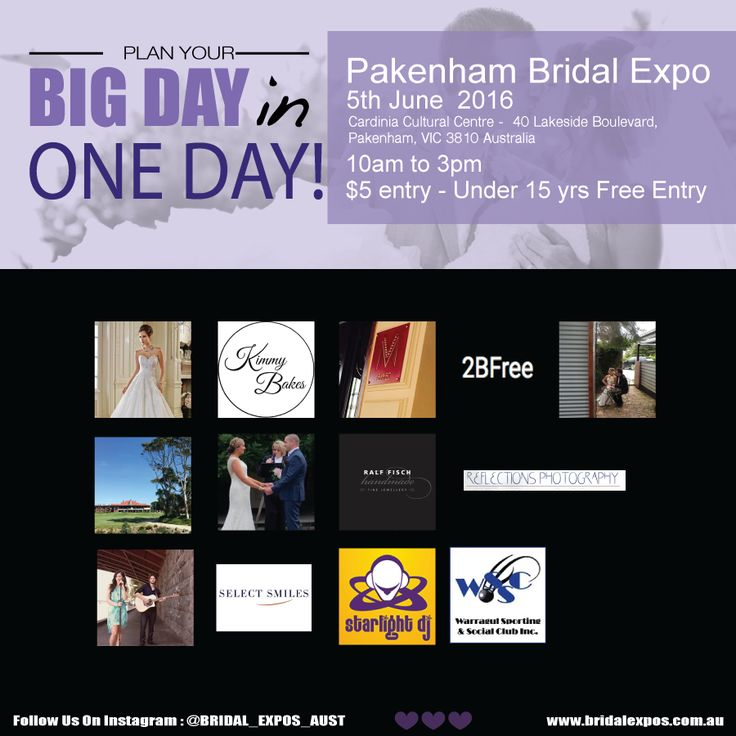 Be sure to attend the #PakenhamBridalExo on the 5th of June 2016! With Melbourne's leading wedding suppliers all under one roof! Here are just some of our exhibitors: Kerri's House Of Bridal, Kimmy Bakes, MarShere Dance Studios - Pakenham, #2BFree, Pamela Scott Celebrant, Patterson River Golf Club, Pauline Woolley Celebrant, Ralf Fisch Fine Jewellery, #ReflectionsPhotography, Brendan & Sabrina, Select Smiles, Starlight DJ, , Warragul Club Downtowner