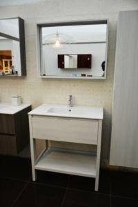 Consolle da bagno completa di lavabo, specchiera e mobile a colonna [B-Easy]