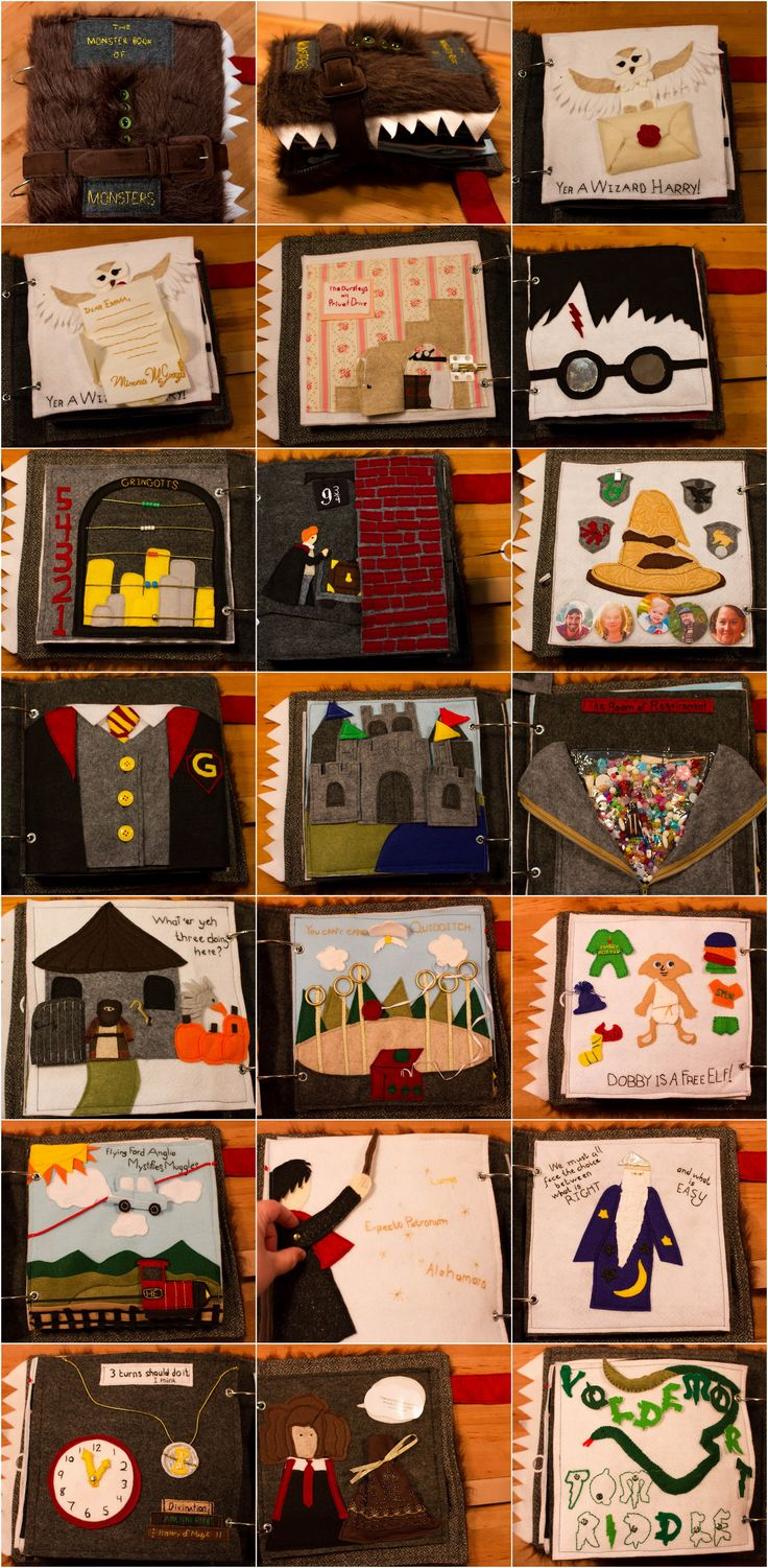 Harry Potter Primer | Monster Book of Monsters busy book I made for my granddaughter. Page ideas from various sources + some I designed. 18 quiet book pgs. incl: Hedwig with Letter; Cupboard Under the Stairs; You Have Your Mother's Eyes; Gringotts counting; Ron @ Platform 9 3/4; Hogwarts Castle Puzzle; Room of Requirement; Hagrid's Hut; Quidditch; Dress Dobby; Flying Ford Anglia; Harry Practicing Spells; Dumbledore Sensory; Time-Turner Clock; Hermione's Bag; Voldemort Letter Match