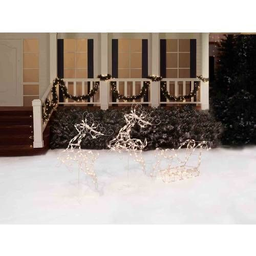 """26"""" Tall Two Deer with Sleigh Lighted Christmas Sculpture Outdoor Yard Decor NEW"""