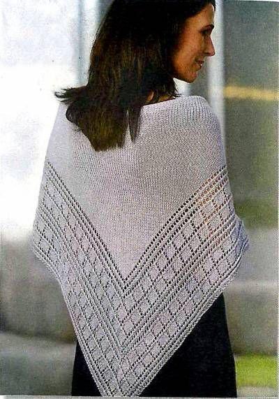 Серебристая шаль спицами, схема - 31 Августа 2010 - Вязание спицами, модели и схемы для вязания на спицах