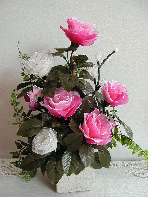 Handmade Nylon Flower Arrangement por LiYunFlora en Etsy