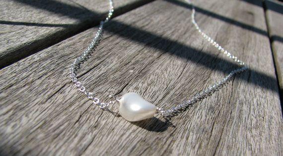 Twisted collana di perle Flotaing perla argento di SelaSage
