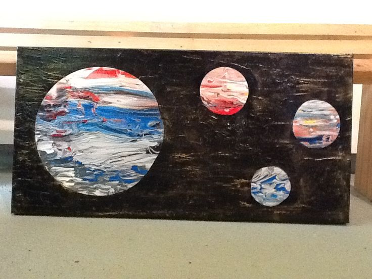Planets, acrylic on canvas. Colourful worlds.
