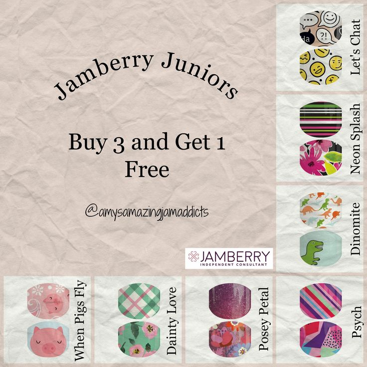 Jamberry Juniors are the perfect wraps for children, or adults with smaller nail beds.  I wear them on my toes!  Juniors are eligible for Buy 3 and Get 1 Free, so stock up on your favorite designs.  For more great ideas, follow me on Facebook:  https://www.facebook.com/amysamazingjamaddicts/