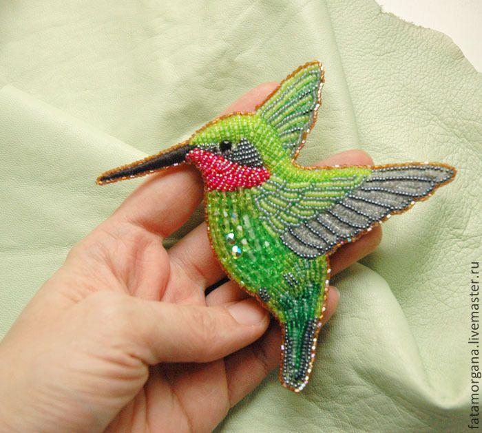 """Купить брошь """"Колибри"""" - ярко-зеленый, зеленый, салатовый, птичка, брошь птичка, брошь птица Мария Пыль"""