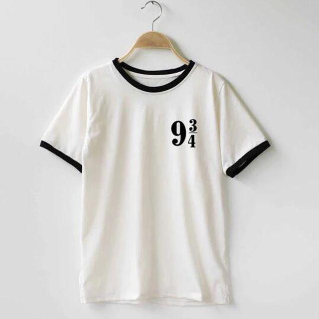 Mulheres Plataforma 9 3 4 Harry Potter camiseta de Algodão O-pescoço t-shirt Feito Sob Encomenda Engraçado camisetas Das Camisas Das Camisetas