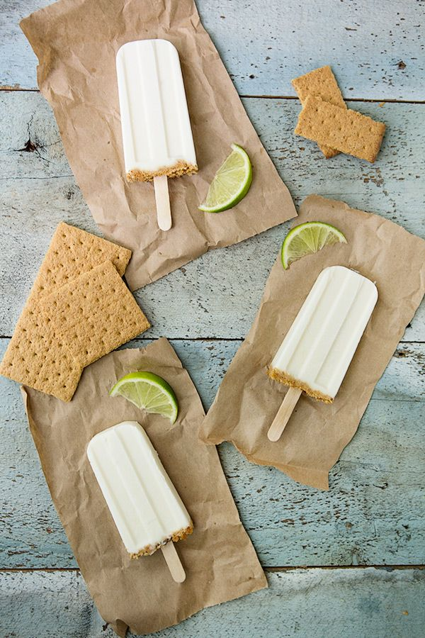 Key Lime Pie Pop Made with: Greek-style plain, key lime simple syrup, vanilla extract, and graham crackers. Simple syrup made with: water, lime juice, and sugar