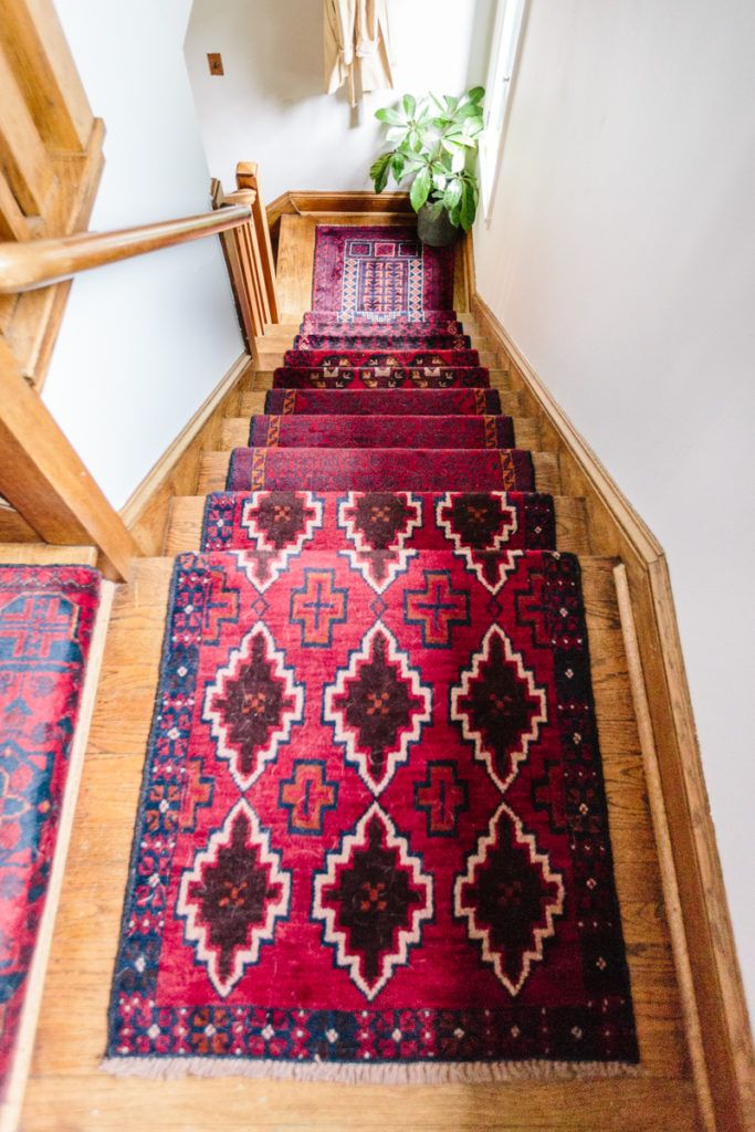 Mix & Matched Patterns: DIY Stair Runner Made with Vintage Rugs
