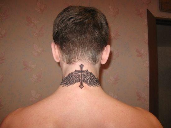 Wings Neck Tattoo Design for Men
