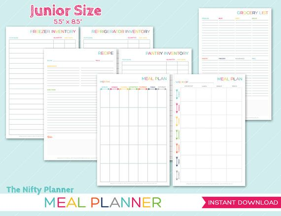 36 best Organization images on Pinterest DIY, Board and Decoration - menu planner templates