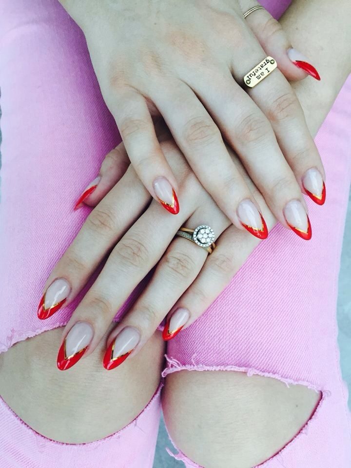Red opi scellac with gold stripes