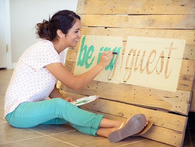 """Guest room pallet head board -- (try using """"drawer paper -- the sticky liner stuff"""" & cut out letters as stencil. Stick on wood, and paint. ???)"""