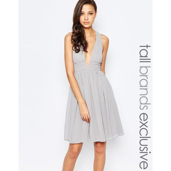 True Decadence Tall Midi Plunge Front Open Back Prom Dress ($69) ❤ liked on Polyvore featuring dresses, grey, grey dress, plunge neck dress, gray cocktail dress, grey prom dresses and gray midi dress
