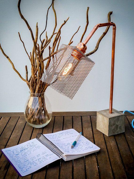 Handmade concrete Desk lamp  Industrial lamp  Desk von EunaDesigns