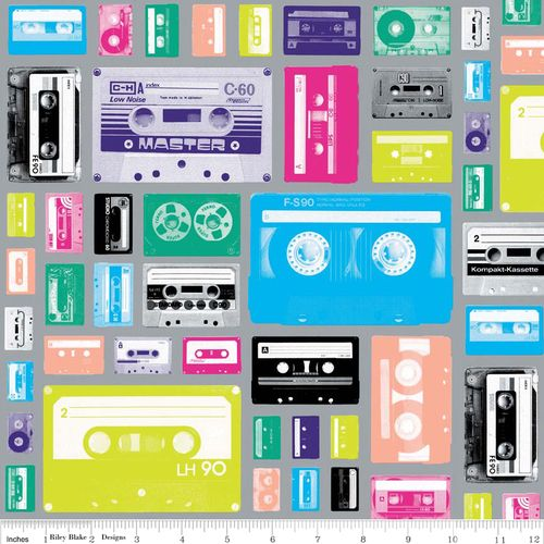 """""""Cassettes on Gray""""  Geekly Chic Fabric by Riley Blake"""