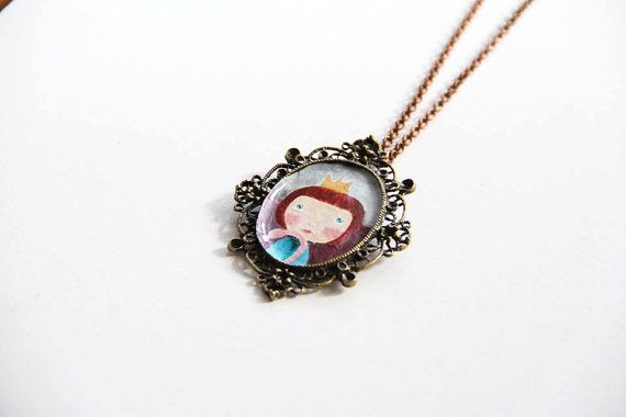 Vintage necklace painting necklace Alice in by NataliesWunderland