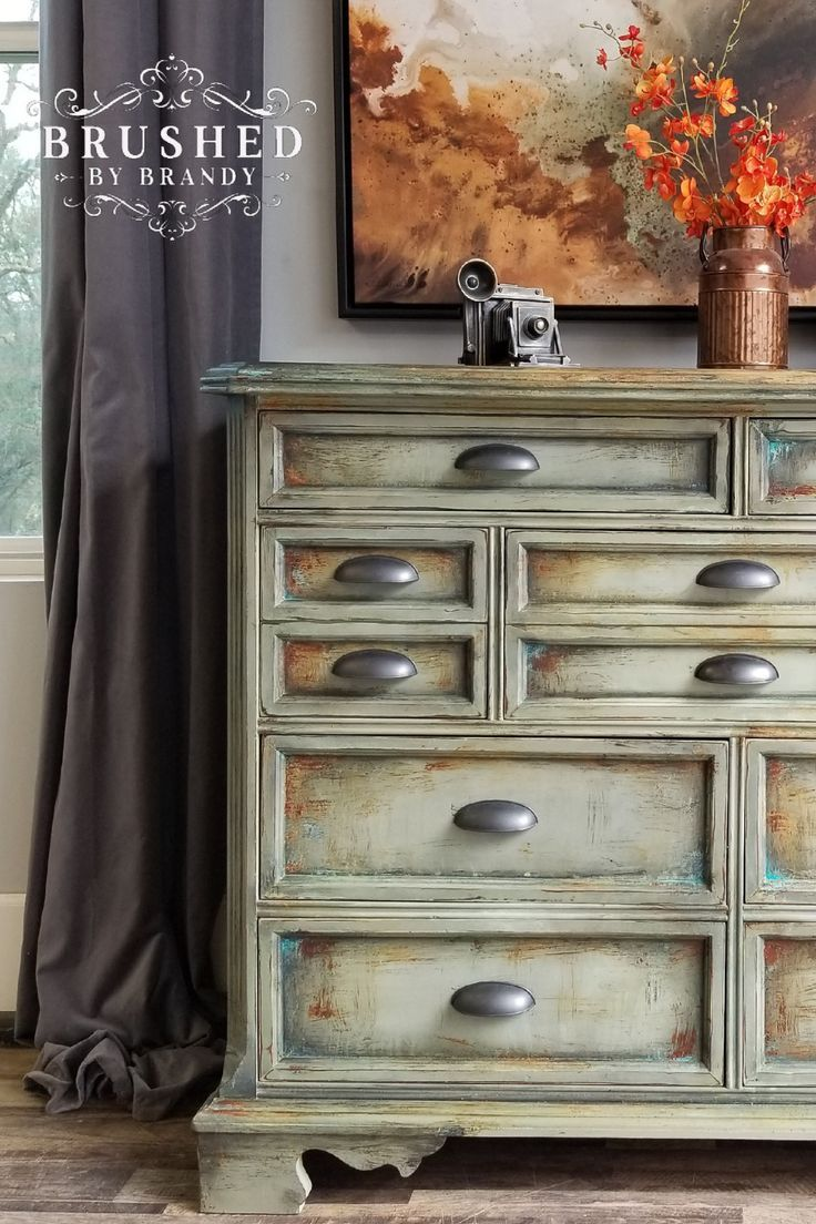 Learn How Brushed By Brandy Creates This Grungy Green Rusted Chalk Paint Finis Green Painted Furniture Dresser Makeover Chalk Paint Furniture Painting Tutorial