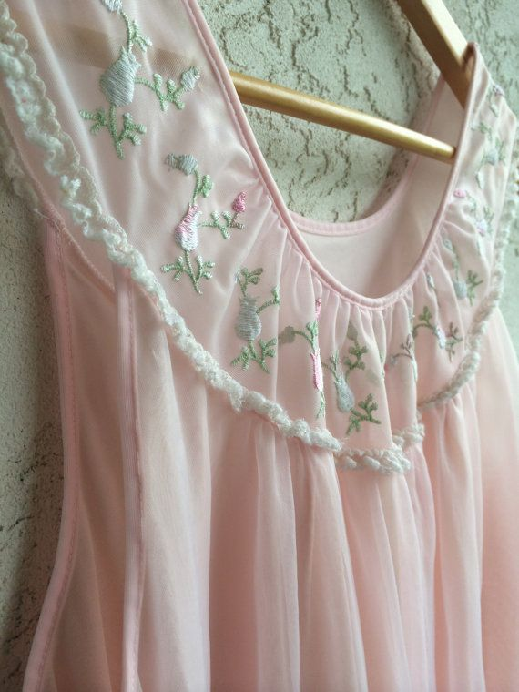 So pretty... 1960s Long Vintage Light Pink Nightgown// Pink Lingerie// Vintage 1960s Sleepwear by French Maid Lingerie Company M/L by TheFrenchSeventyFive