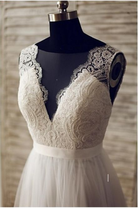 BOHO WEDDING LACE DRESS BOHO BRIDESMAID DRESSES Silhouette A-line Neckline V-neck Waist Natural Hemline / Train Sweep / Brush Train Sleeve Length Sleeveless Embellishments Lace, Button Back Details Ba