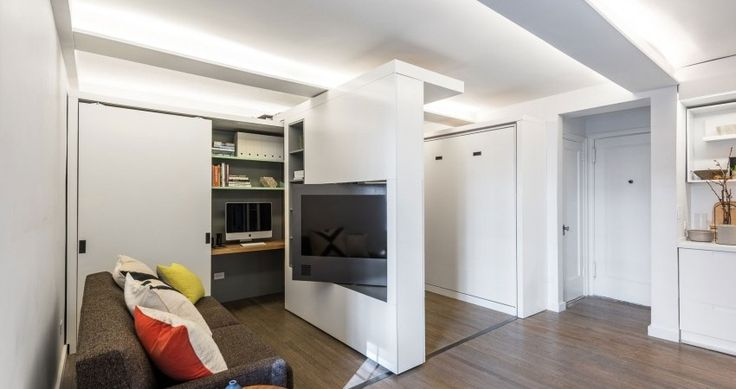 Sliding Wall Maximizing Space in New York Micro-Home: The Five to One Apartment