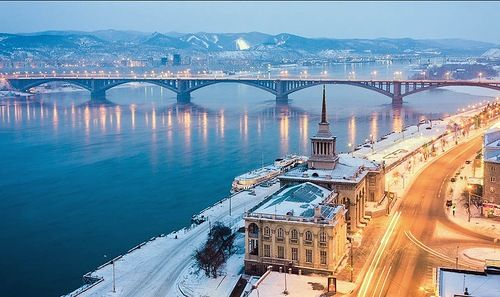 Krasnoyarsk, Russia. Located 4065 kilometers from Moscow along the Trans-Siberian railway.
