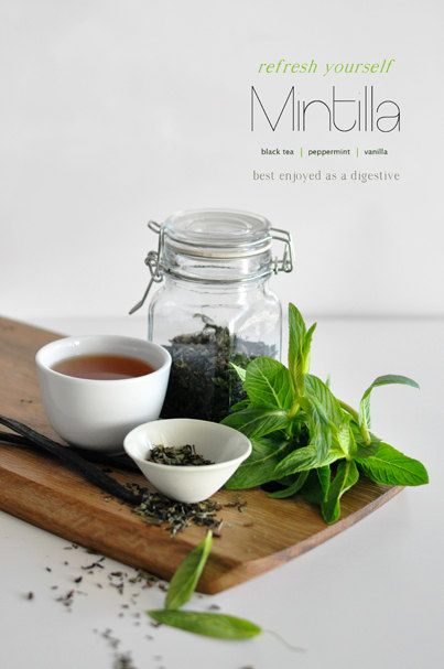 Mintilla Flavored Black Tea:Minty extravaganza with velvety vanilla overtones. Creamy, tantalizing and equally graceful. Perfect as a night time digestive or served with your favourite spirit as a party pleaser. By KettleTown on Etsy, $10.00