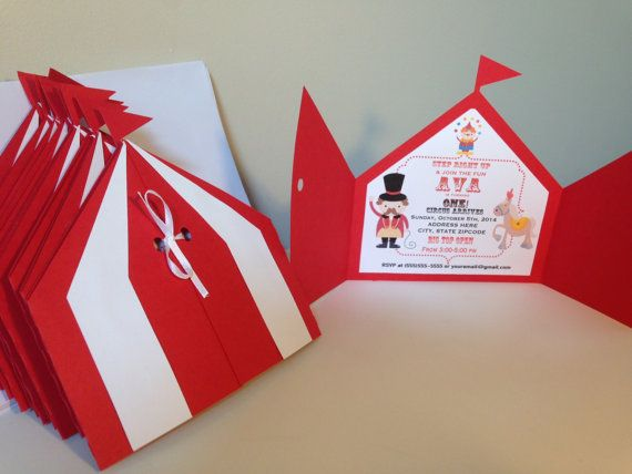 These adorable big top tent invites are the perfect way to kick off any circus themed event! Whether it is a birthday party or baby shower, I can