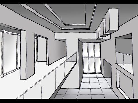 Como dibujar un espacio interior a doble altura con 1 punto de fuga