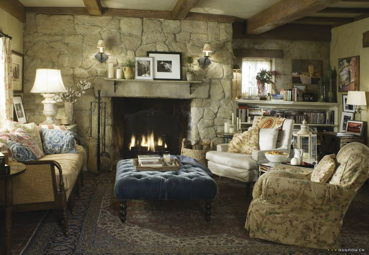 The Holiday Movie: Tour Rosehill Cottage: Cottages Living Rooms, Stones Cottages, Stones Fireplaces, Cottages Style, Country Cottages, The Holidays, English Cottages, Movie, Cottages Interiors