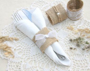 Burlap Silverware Holders Table Decor by FriendlyEvents on Etsy