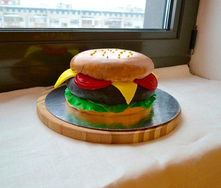 3D торт гамбургер бургер красный бархат эстерхази