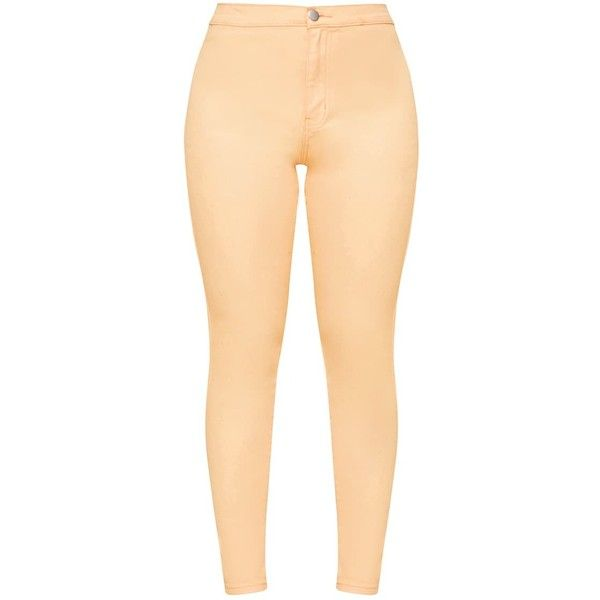 Orange Skinny Jean ($40) ❤ liked on Polyvore featuring jeans, skinny leg jeans, skinny jeans, orange jeans, beige jeans and cut skinny jeans