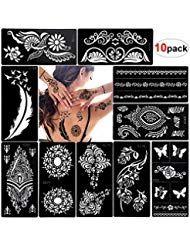 Konsait Henna Tattoo Schablonen Glitter Tattoos Schablonen Feder Mandala Blume S…