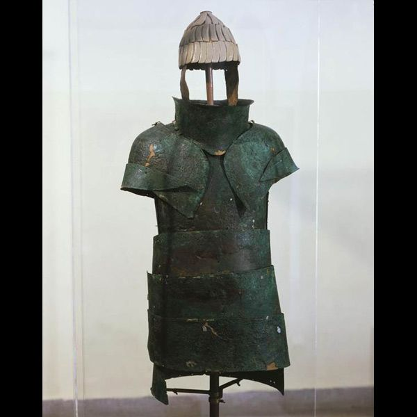 Mycenaean Armor  Little sense could be made of Homer's description of the boar's tusk helmet until in modern times actual specimens were found. Here is the only surviving example of a complete Mycenaean suit of armor, from a Mycenaean grave, c. 1400 bc, at Dendra in the Peloponnesus near Mycenae. The reconstructed boar's tusk helmet is of a type most popular around 1600 bc, but pieces of helmets are found from as late as Homer's own day c. 800 bc, so it was a traditional type of helmet in…