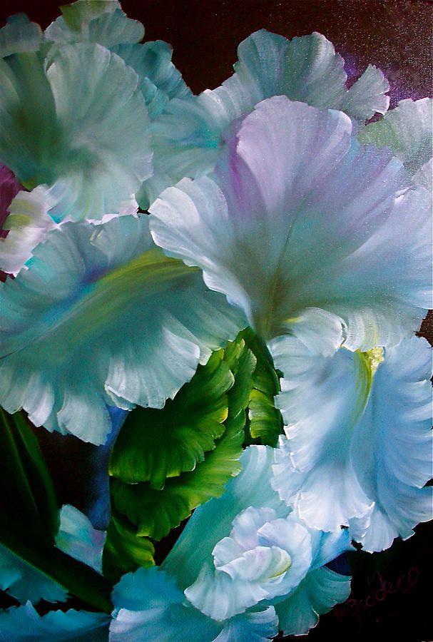 """Midnight Garden:  In the #Midnight #Garden ~ """"Mystical White Iris,"""" by Micheal Giddens."""